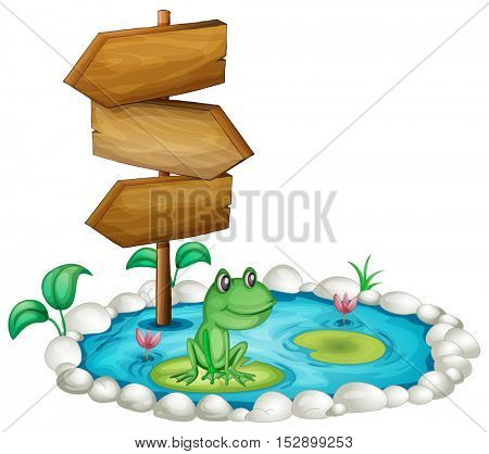 Frog an sign at a pond