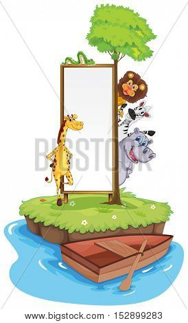 Frame template with wild animals on island illustration