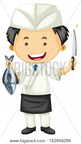 Sushi chef holding fish and knife illustration