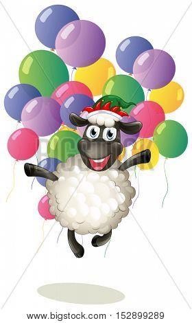 Sheep and colorful balloons illustration