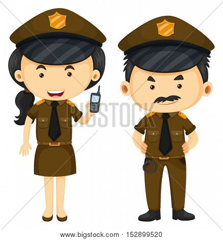 Police officers in brown uniform illustration