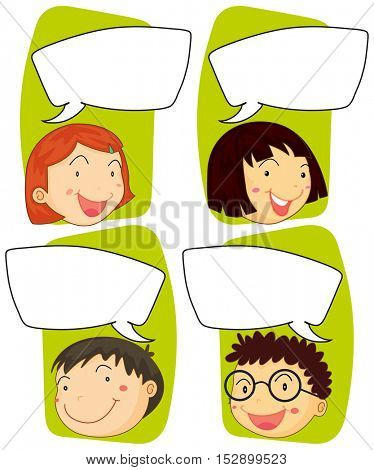 Kids and communication signs illustration
