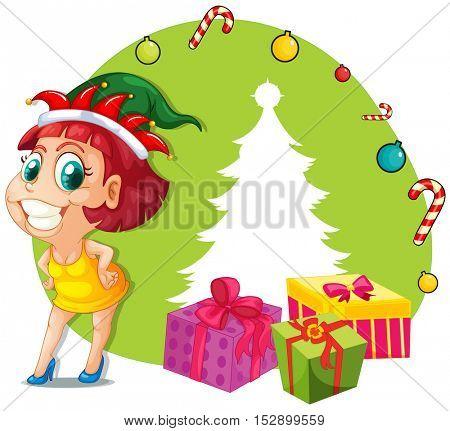 Christmas theme with girl and presents illustration