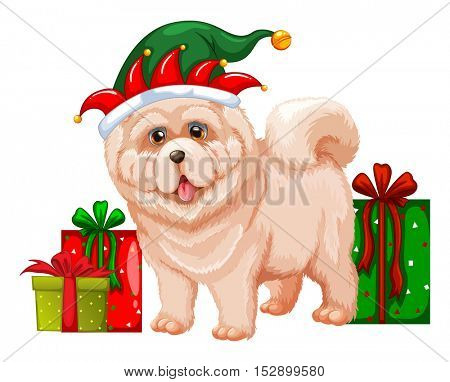 Dog wearing elf hat  illustration