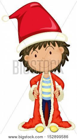 Boy in Santa hat and robe illustration