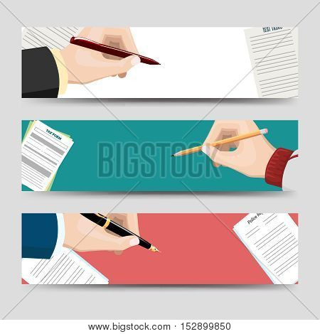 Horizontal banners template with left-hander and right-hander writing signing document form. Vector illustration