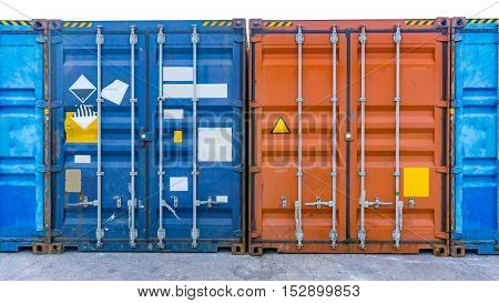 the containers ship with door close on background