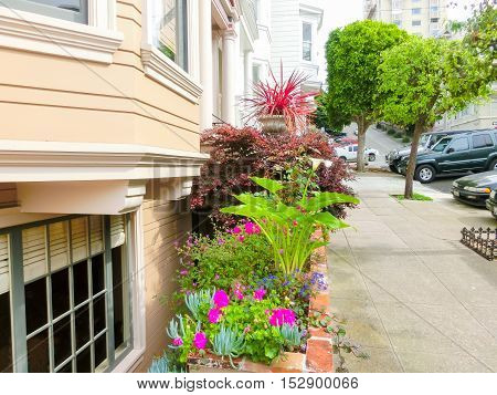 San Francisco, California, United States of America - May 04, 2016: The traditional windows of building with flowers at downtown in San Francisco, USA
