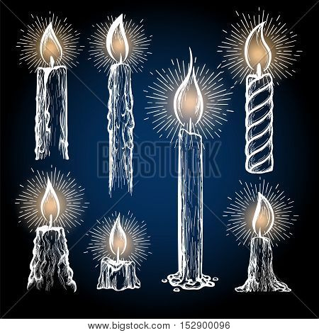 Hand drawn candles collection with shining elements vector