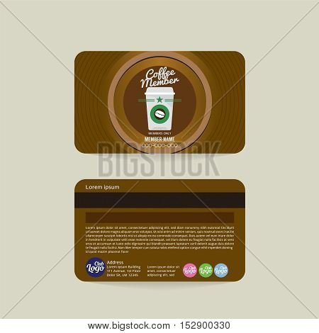 Front And Back Coffee Shop Member Card Template Vector Illustration. EPS 10