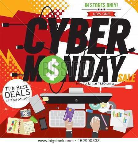 Colorful Cyber Monday Banner Vector Illustration. EPS 10