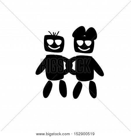 couple black vector love on white background