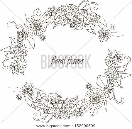 Round floral hand drawn frame for coloring book, anti-stress vector illustration