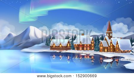 Winter landscape. Christmas cottages. Festive Christmas decorations. New Year background. 3d vector illustration