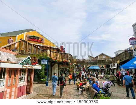 San Francisco, California, United States of America - May 04, 2016: Pier 39 fisherman's wharf at San Francisco on Dec 13, 2013. Pier 39 is a famous tourist spot in San Francisco area and usually crowded in the weekend.