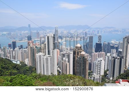 Aerial view of the Hong Kong bay and its skyscrapers from Victoria peak, Hong Kong S.A.R., China