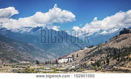 landscape of mountain and valley countryThimphu city in Bhutan
