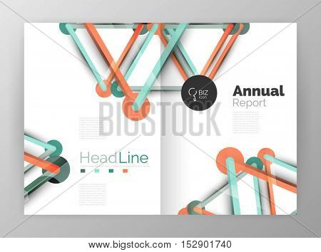 Lines and circles, modern abstract business annual report template. Vector illustration