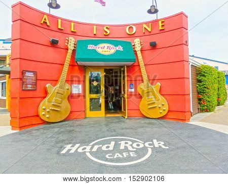 San Francisco, California, United States of America - May 04, 2016: The hard Rock Cafe at Pier 39 fisherman's wharf at San Francisco on Dec 13, 2013. Pier 39 is a famous tourist spot in San Francisco area and usually crowded in the weekend.