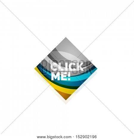 Vector abstract square button template. Minimalistic geometric clean style