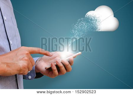 Businessman using mobile phone and gaining access clond system in smart phone