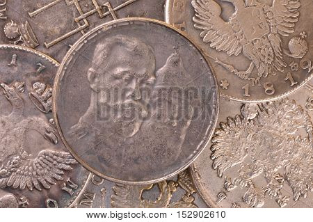 Vintage background coin silver three hundred years of the Romanov dynasty