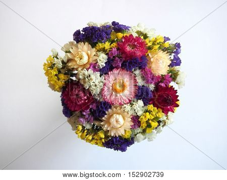 Colorfull bouquet on white background view above
