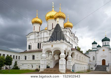Trinity Cathedral of the Ipatiev monastery closeup gloomy september day. Kostroma, Golden ring of Russia