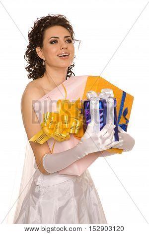 Happy  young bride with presents studio shoot