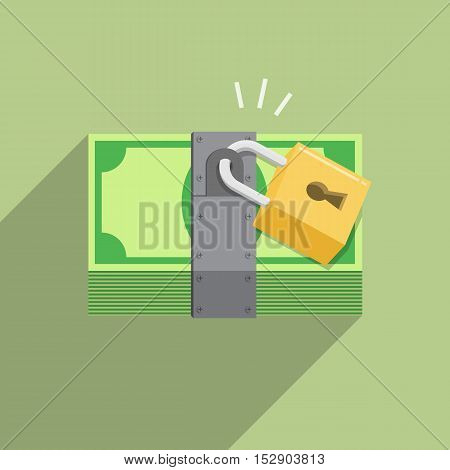security safety protection lock on money bill on green background saving concept