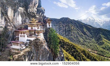 Taktshang Goemba or Tiger's nest Temple or Tiger's nest monastery the beautiful buddhist temple.The most sacred place in Bhutan is located on the high cliff mountain with sky of Paro valley Bhutan.