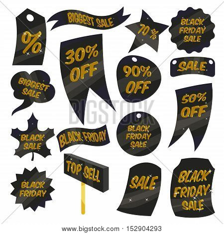Black Friday Sales labels icons set. Cartoon illustration of 16 Black Friday Sales labels vector icons for web