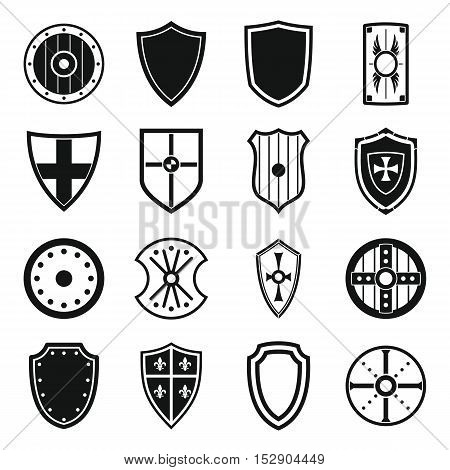 Shield frames icons set. Simple illustration of 16 Shield frames vector icons for web