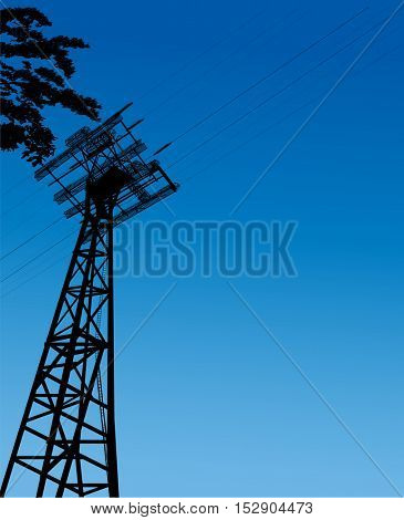 illustration with electric pylon on blue background