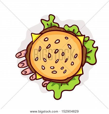 Dead man hand in cheeseburger. Halloween fast food clip-art, isolated on white. Hand drawn cartoon sketchy icon, design element for halloween party invitation card, sticker, greeting card