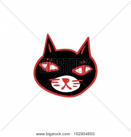 Black cat with red eyes, witches and witchcraft symbol. Halloween clip-art. Hand drawn sketchy icon, design element for halloween party invitation card, poster, greeting card, banner, coupon
