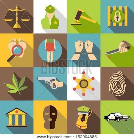 Criminal icons set. Flat illustration of 16 business plan vector icons for web