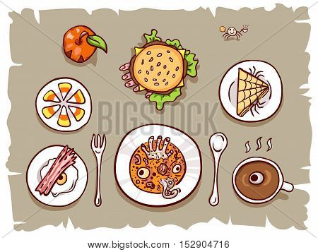 Halloween lunch banner, isolated on white. Assortment of dips with scary food, top view on table. Hand drawn sketchy illustration, design element for halloween party