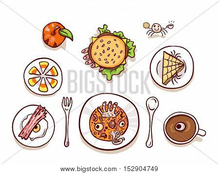 Halloween lunch clip-art, isolated on white. Assortment of dips with scary food, top view. Hand drawn sketchy icons, design element for halloween party invitation or web banner