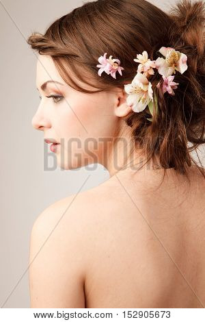 Bridal hairstyle with real flowers studio shoot
