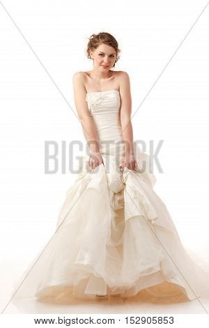 A Gourgeus classical standing bride studio shoot