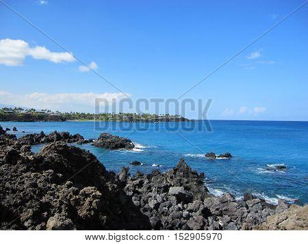 Beatiful beach at a Big Island resort
