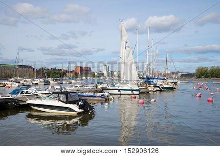 HELSINKI, FINLAND - AUGUST 28, 2016: Marina at the Katajanokka island on the September day. Tourist landmark of the city Helsinki