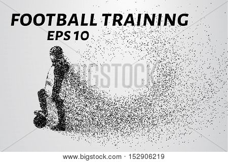 Player of the particles. Boy soccer player in training. Silhouette of a football player consists of circles and points.