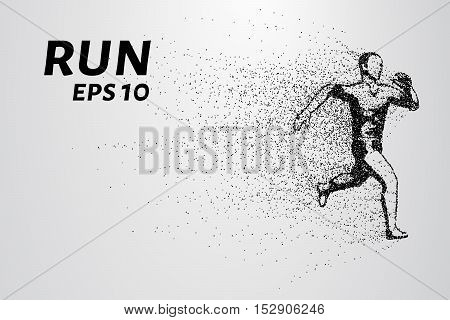 Runner of the particles. A man runs and wind from him to break away pieces. Runner consists of circles and points.