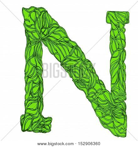 Herbarium font, type. Green herbal vector letters. Letter N.