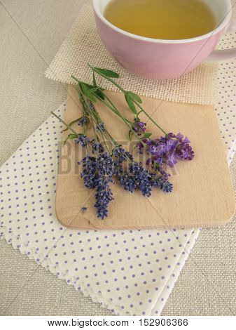 Cup of herbal tea with lavender flowers