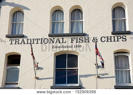 WEYMOUTH, UNITED KINGDOM - JULY 19, 2016 - Traditional Fish and Chips shop building in the harbour area Weymouth Dorset England UK Western Europe, July 19, 2016.