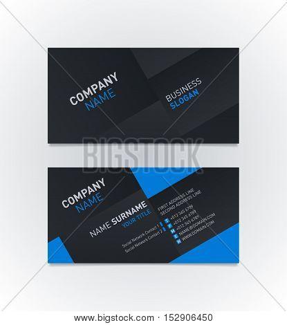 Elegant business card template with modern diagonal background. Vector illustration.