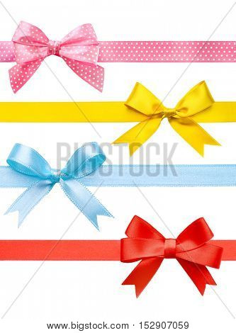 Set of colorful festive ribbons with bows on white background.